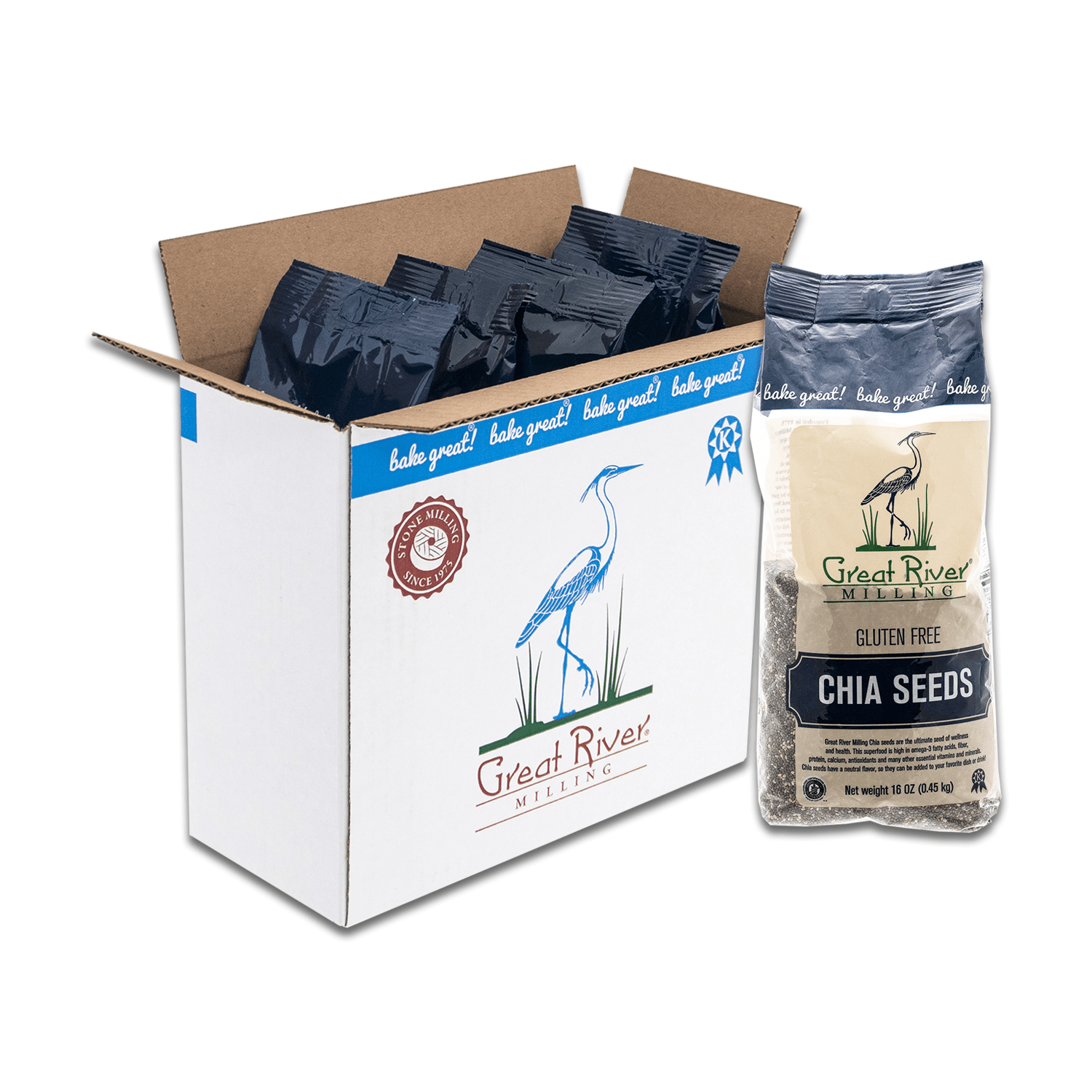 great river milling chia seeds case open