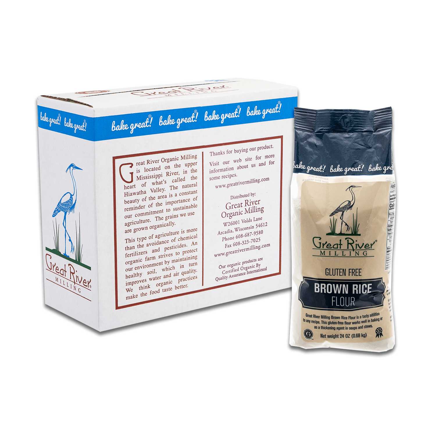 great river milling brown rice flour 24oz case sealed