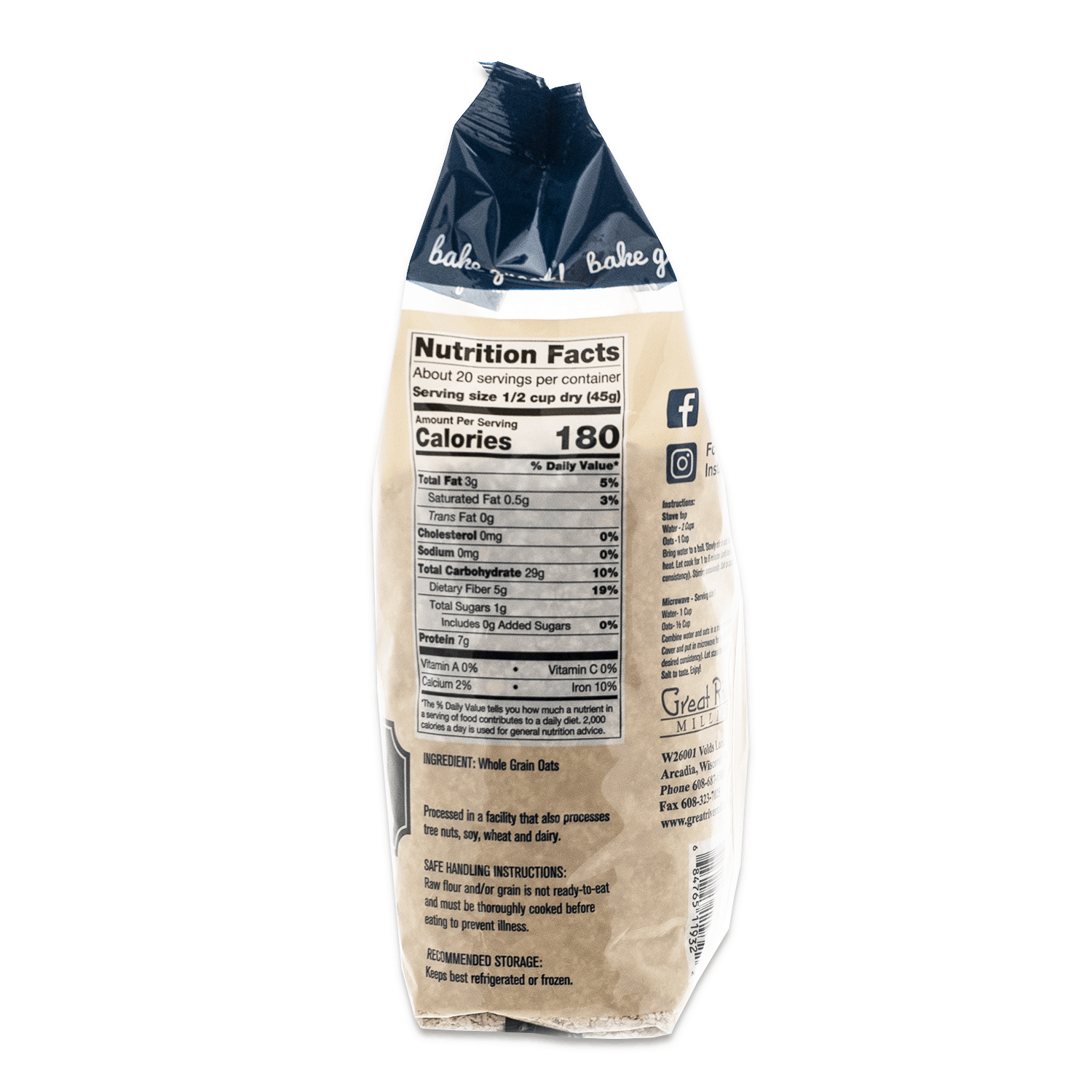 great river milling quick cooking rolled oats nut. facts
