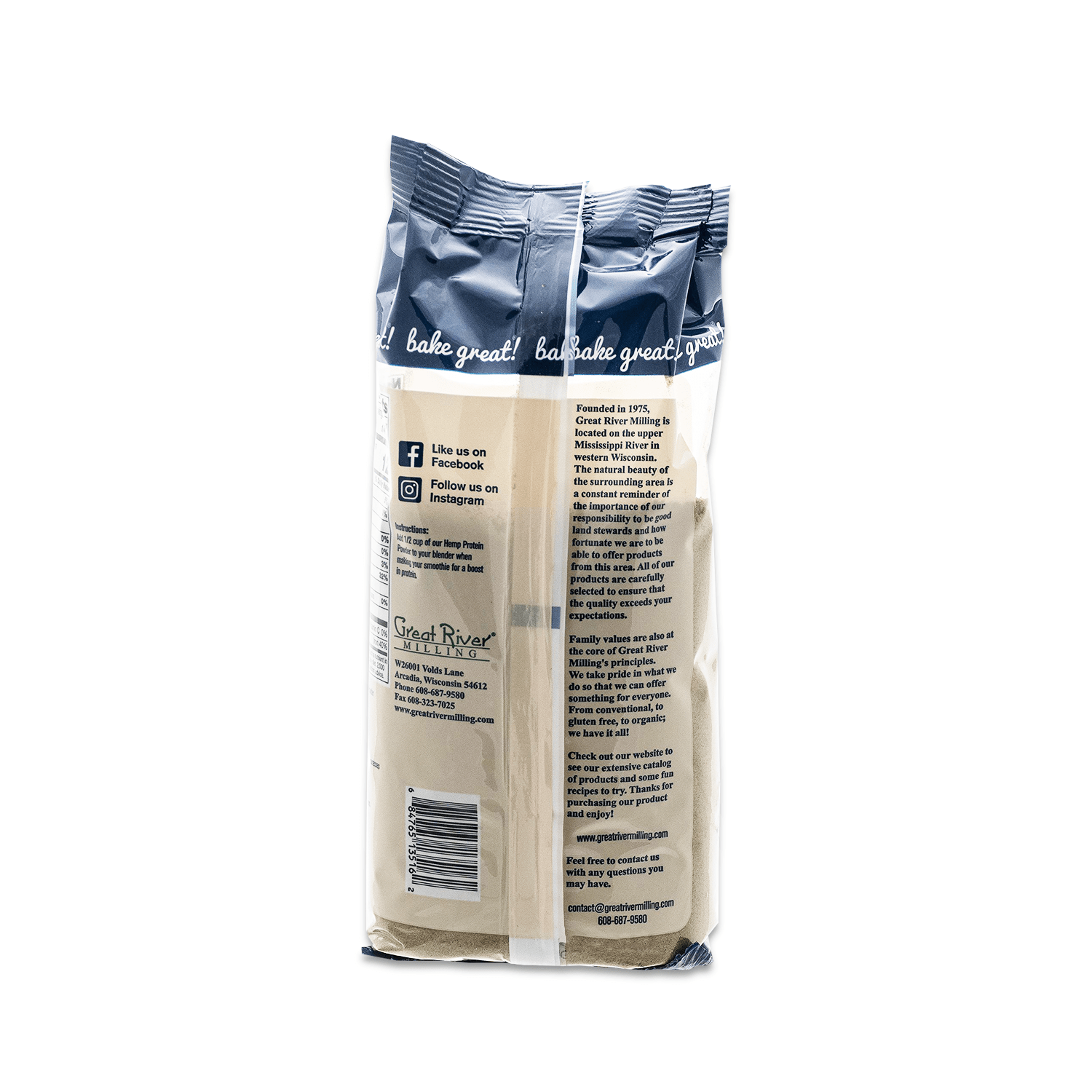 Great River Milling Hemp Protein Powder Back