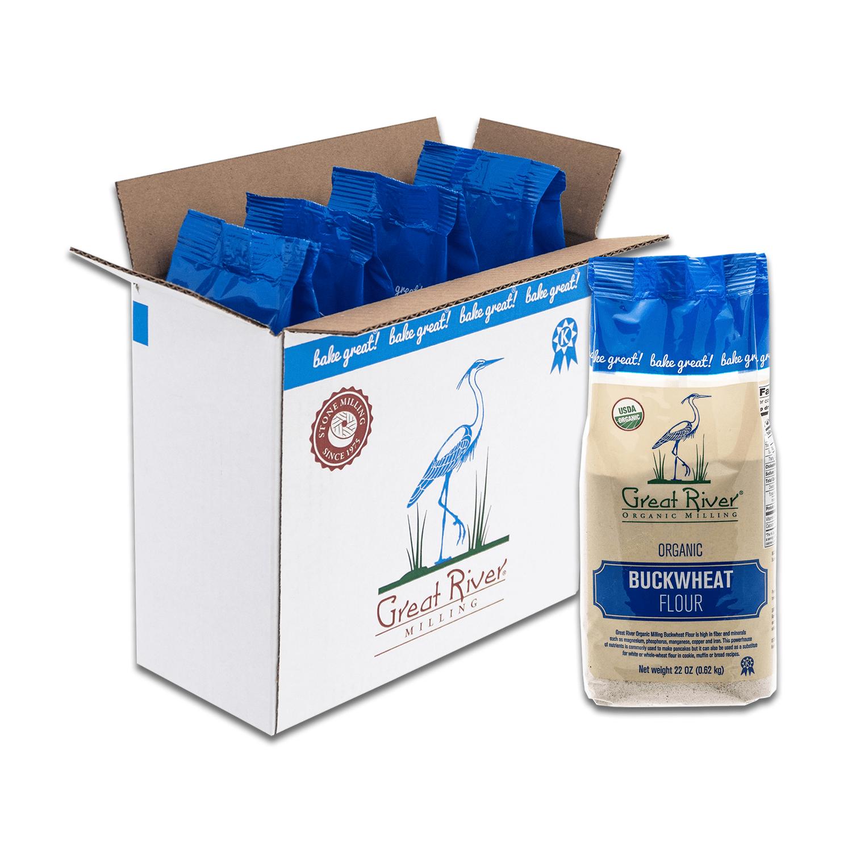 great river organic milling buckwheat flour case open