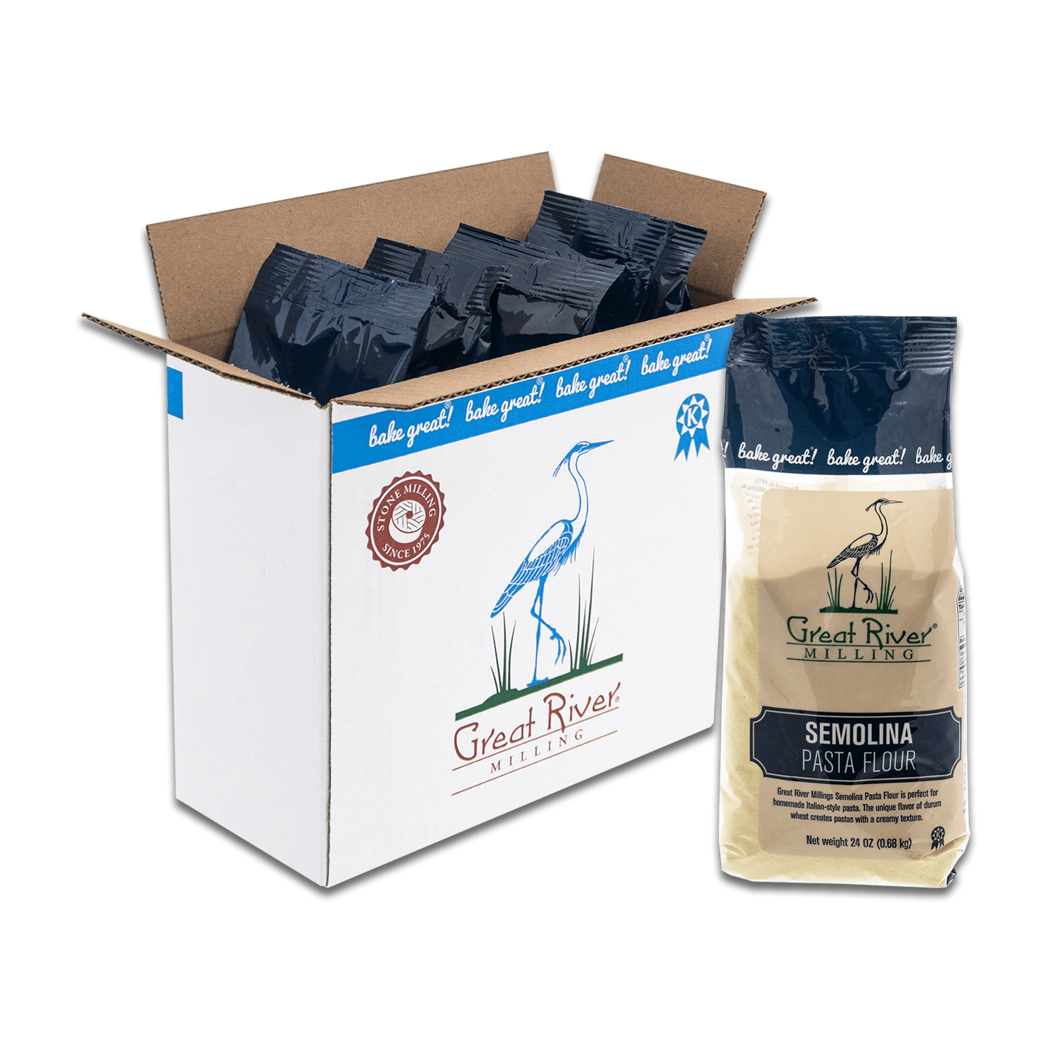 Great River Milling Semolina Pasta Flour Case Open