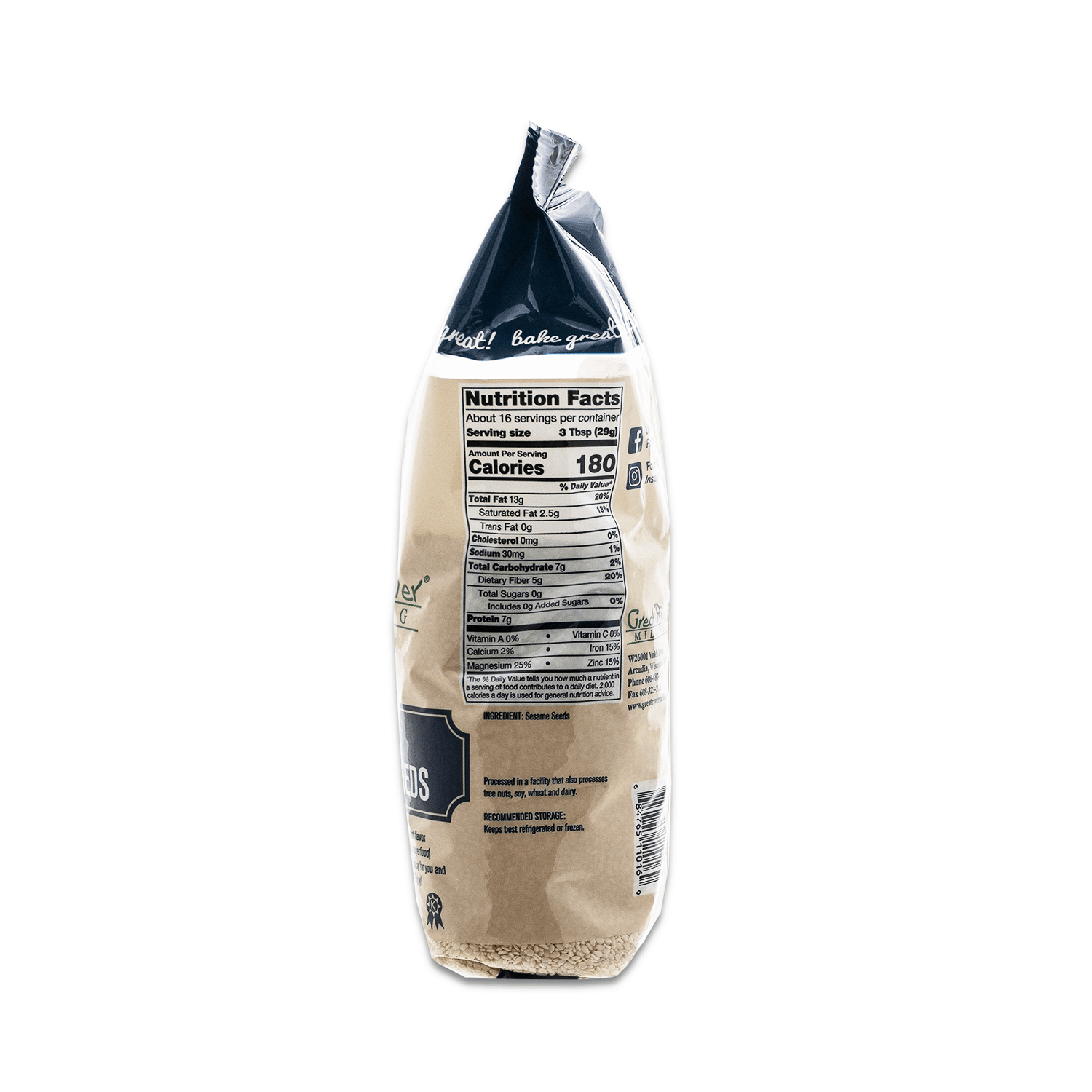 White Sesame Seeds 16oz Nutrition Facts